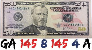 2004 A 50$ Frn Bill Fancy Serial Ladder Repeater Number Us Circulated Banknote photo