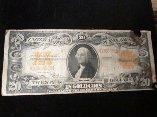 1922 Large Size $20 Gold Certificate photo