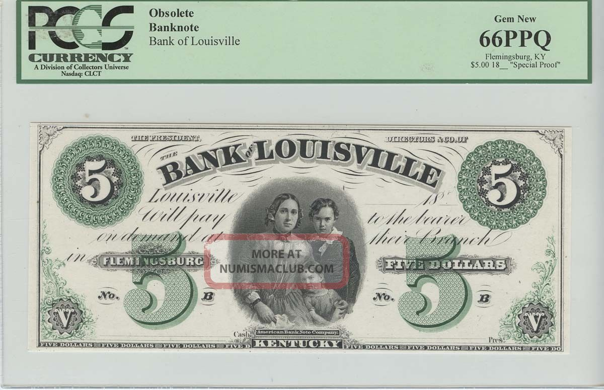 18_ Bank Of Louisville Ky $5 Obsolete Note Proof Pcgs Gem 66 Ppq Paper Money: US photo