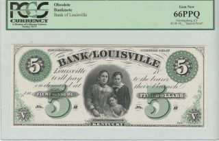 18_ Bank Of Louisville Ky $5 Obsolete Note Proof Pcgs Gem 66 Ppq photo