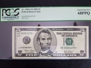 2003 $5 Uncirculated Pcgs 68ppq Star Note photo