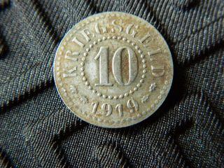 Germany Kriegsgeld Notgeld 10 Pfennig 1919 Coin - Frankfurt - (4109) photo