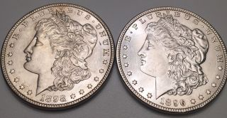 1896 & 1898 Morgan Silver Dollars W/ Great Details photo