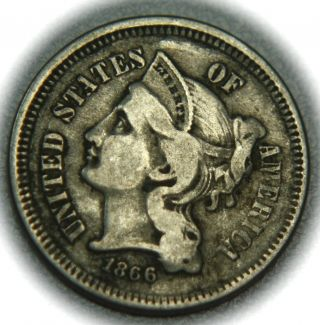 1866 Three Cent Nickel - 3cn - photo