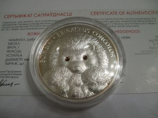Belarus 20 Roubles Hedgehogs 2011 Swarowski Crystals Proof Silver Coin Ag925 photo