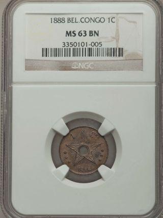 1888 Belgian Congo 1 Centime,  Ngc Ms 63 photo