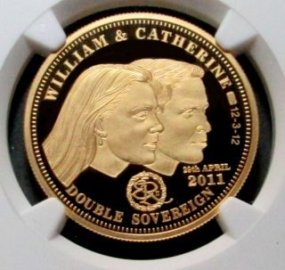 2011 Gold Tristan Da Cunha 2 Pounds William & Kate Wedding Coin Ngc Proof 69 Uc photo
