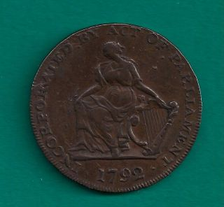 1792 Ireland Camac Kyan & Camac Halfpenny Conder Token Dh - 91 Vintage Irish photo
