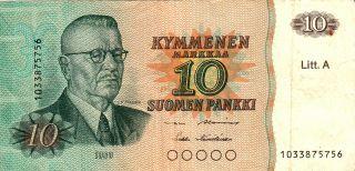 1980 Finland 10 Markkaa Note. photo