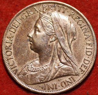 Uncirculated 1898 Great Britain Penny Foreign Coin S/h photo