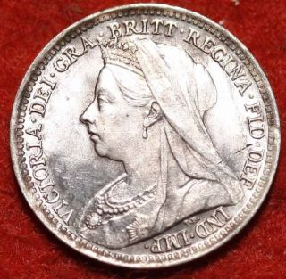 Uncirculated 1897 Great Britain 3 Pence Km777 Foreign Coin S/h photo