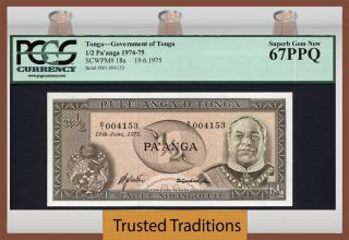 Tt Pk 18a 1974 - 75 Tonga 1/2 Pa ' Anga Pcgs 67 Ppq Gem Population Of One photo