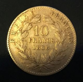 1866 A - Gold - France - 10 Francs - Napoleon Iii Coin - Paris photo