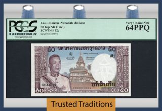 Tt Pk 12a 1963 Laos Banque Nationale 50 Kip Pcgs 64 Ppq Very Choice Top Pop photo