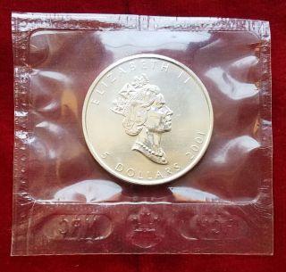 2001 Canada Silver Maple Leaf $5 1 Oz 9999 Fine Silver (rcm Seal) photo