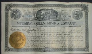 1903 Wyoming Queen Mining Company Stock Certificate,  Jelm,  Wyoming photo