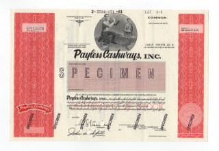 Specimen - Payless Cashways,  Inc.  Stock Certificate photo
