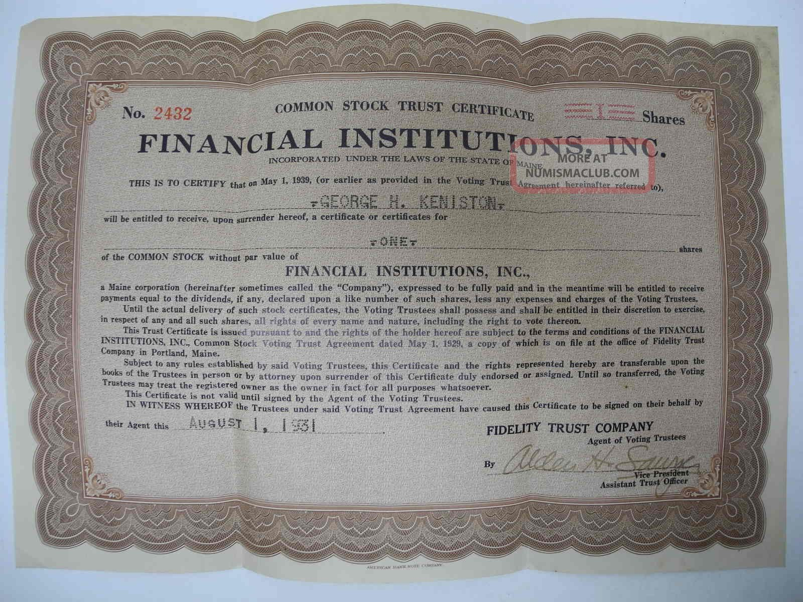 Vintage 1931 Stock Certificate: Financial Institutions,  Inc.  Maine Me Stocks & Bonds, Scripophily photo