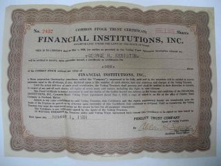 Vintage 1931 Stock Certificate: Financial Institutions,  Inc.  Maine Me photo