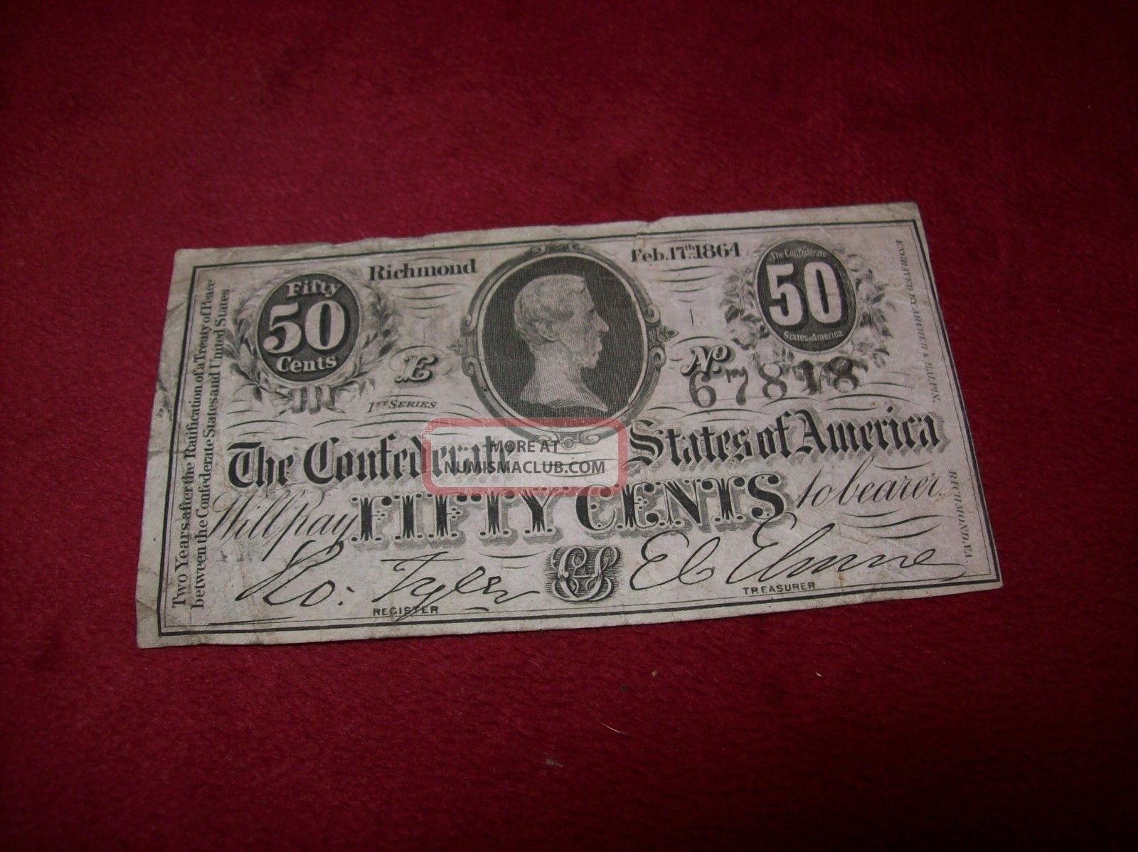 Civil War Confederate States Of America 50 Cent Bank Note,  Richmond,  No.  67818. Paper Money: US photo