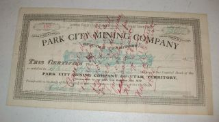1887 Park City Mining Company Stock 300 Shares Certificate Utah photo