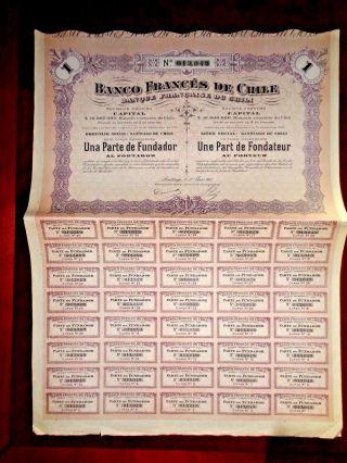 Banco Francés De Chile,  Share Certificate1917 Vg,  /f photo