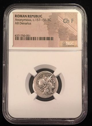 Ancient Roman Silver Denarius Anonymous 157/6bc Ngc Certified Victory 3.  75g photo