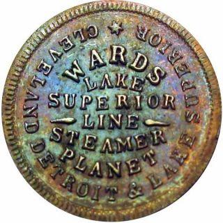 Steamboat Ward ' S Steamer Planet Detroit Cleveland Lake Superior Civil War Token photo