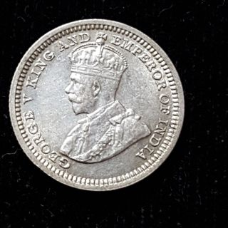 Hong Kong 1932 George V Silver 5 Cents Km 18 Great Luster And Color F70 photo