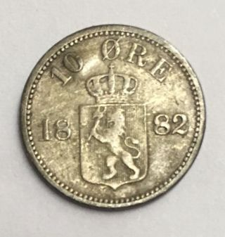 Kingdom Of Norway,  Norwegian King Oscar Ii 1882 10 Ore Silver Coin. photo