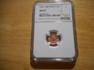 1961 Zbr Peru 1/5l Ms 63,  As Rated By Ngc.  Price Lowered photo