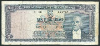 Turkey 1930 Five Lira Banknote