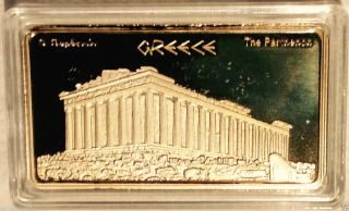 Greek Athens_evzones / Acropolis_parthenon - Gold Plated Collectable Ingot photo