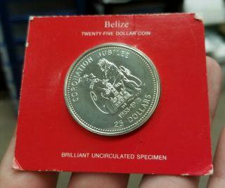 1978 Belize $25 Coronation Jubilee Bu Specimen Sterling Silver Franklin photo