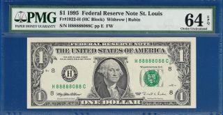 1995 $1 Fancy Serial Number - Eighteen 8 ' S (888888888888888888) - Pmg 64epq C2c photo