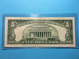 Us $5 Dollar 1963 Red Seal Circulated Bill photo