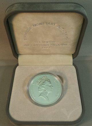 1987 Bermuda $25 Sea Venture 1 Oz Fine Palladium Proof Coin With Box photo