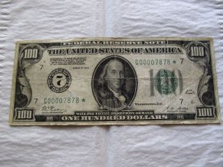 Rare 1928,  100 Dollar Federal Reserve Star Note In A F,  Cond.  Dist 7 Chicago photo