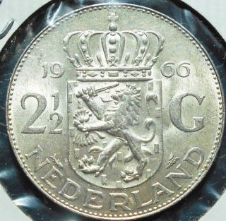. 720 Silver 1966 Netherlands 2 1/2 Gulden Km 185 Juliana Grade 33mm Bsb2 5 photo