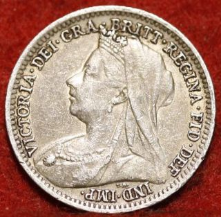1901 Great Britain 3 Pence Silver Foreign Coin S/h photo