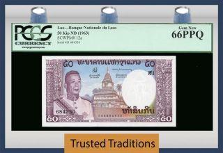 Tt Pk 12a 1963 Laos Banque Nationale 50 Kip Pcgs 66 Ppq Gem Population One photo
