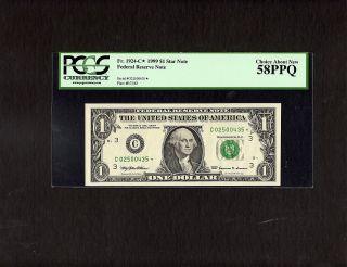 Fr 1924 C 1999 $1 Philadelphia Star Note Federal Reserve Note Pcgs 58ppq photo