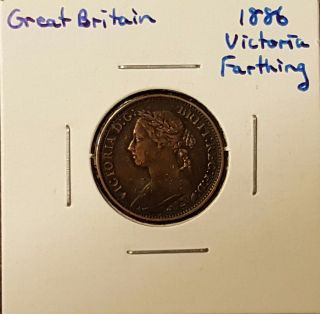 1886 Great Britain Farthing - Queen Victoria photo