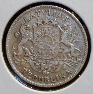 1924 Latvia 1 Lats Coin photo