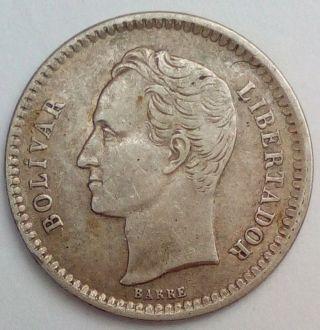 1/2 Bolivar 1921 Gram 2.  500 Venezuela Silver Coin Km Y 21 photo