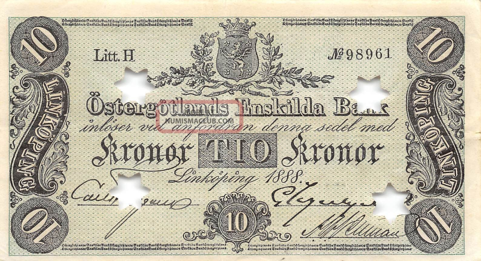 Sweden 10 Kronor Ostergotland 1888 S 733b Litt.  H Rare Circulated Banknote Europe photo