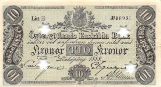 Sweden 10 Kronor Ostergotland 1888 S 733b Litt.  H Rare Circulated Banknote photo