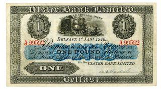 Northern Ireland … P - 315a … 1 Pound … 1 - Jan - 1940 … Vf photo