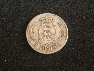 Denmark Silver Coin 1 Kroner 1875 photo