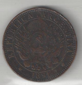 Argentina,  1891,  2 Centavos,  Bronze,  Km 33,  Very Fine - Extra Fine Details photo